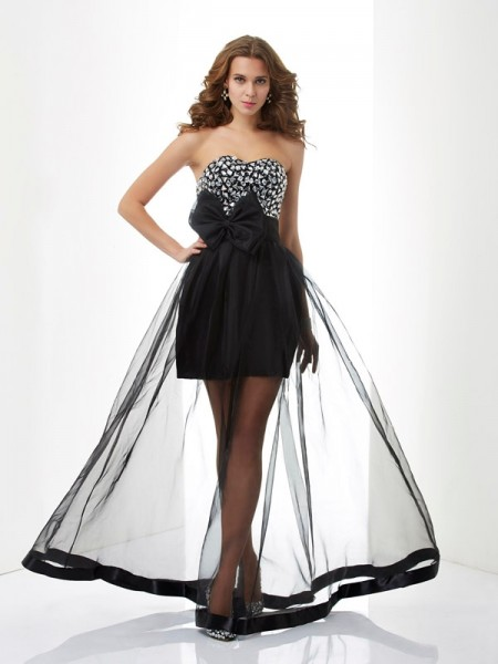 A Line Sweetheart Beading Organza Floor Length Evening Wear