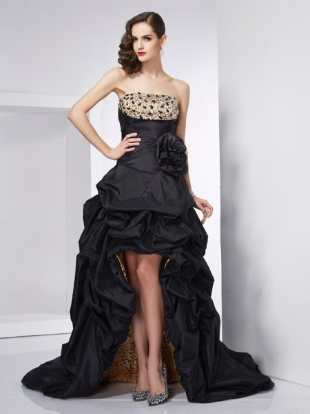 A Line Strapless Beading Taffeta Asymmetrical Evening Wear