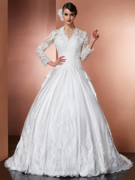 A Line V-Neck long Sleeves Applique Cathedral Train Satin Wedding Gown