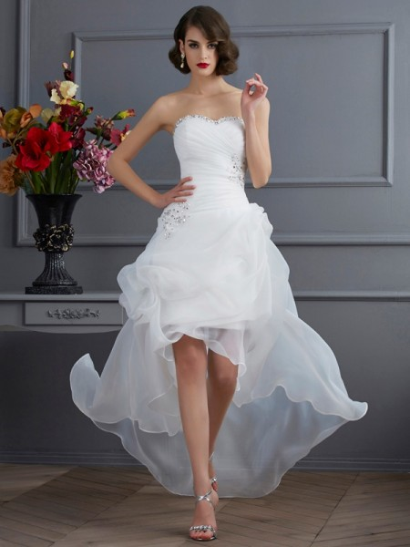 A Line Sweetheart Applique Organza Asymmetrical Wedding Dress
