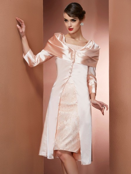 Column Square Knee Length Elastic Woven Satin Gown
