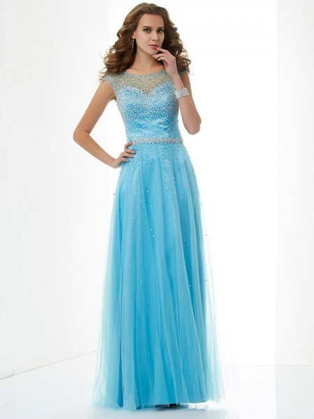 Column High Neck Beading Floor Length Net Evening Wear