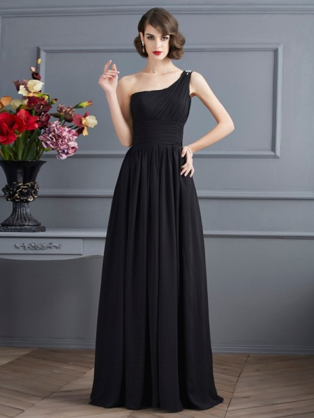 A Line Princess One Shoulder Floor Length Chiffon Gown
