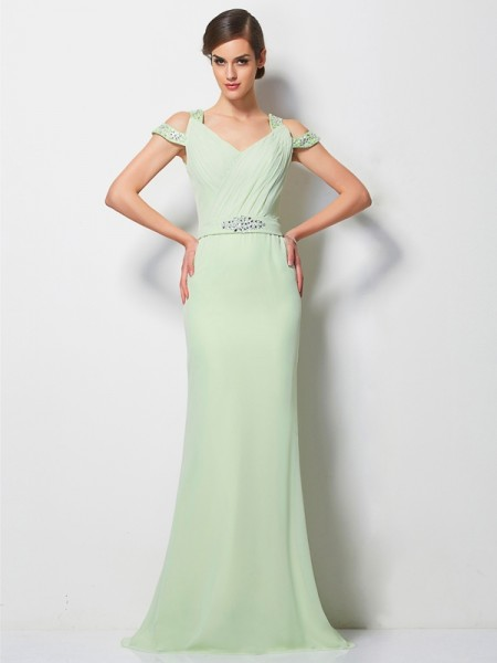 A Line V-Neck Beading Sweep Brush Train Chiffon Prom Dress