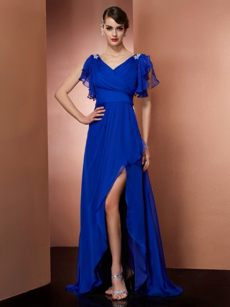 Column V-Neck Beading Asymmetrical Chiffon Dress