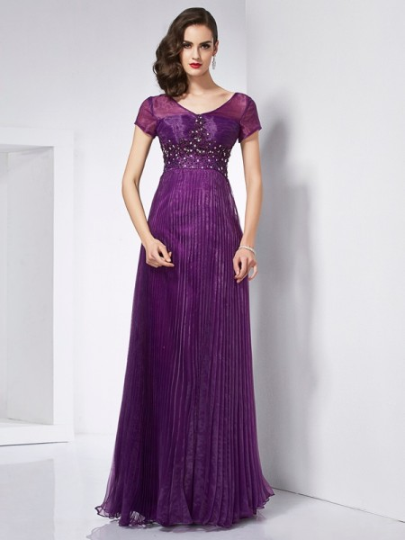 A Line V-Neck Short Sleeves Beading Organza Floor Length Dress