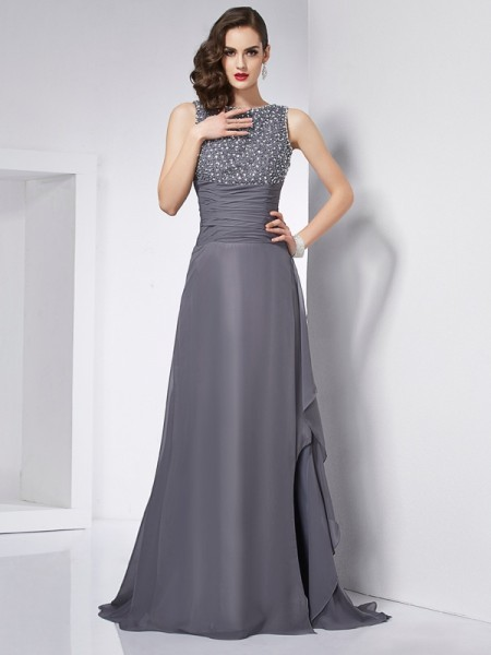 A Line Jewel Beading Chiffon Sweep Brush Train Dress