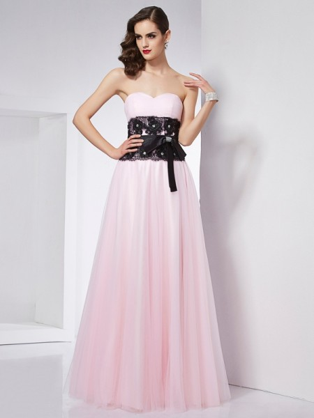 A Line Sweetheart Floor Length lace Satin Evening Wear