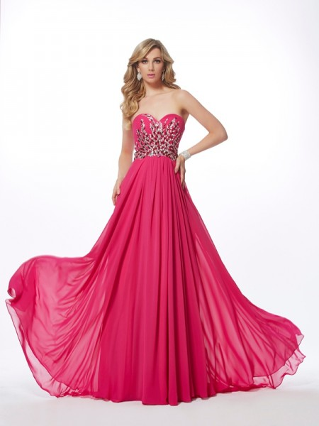 A Line Sweetheart Pleats Floor Length Chiffon Prom Dress