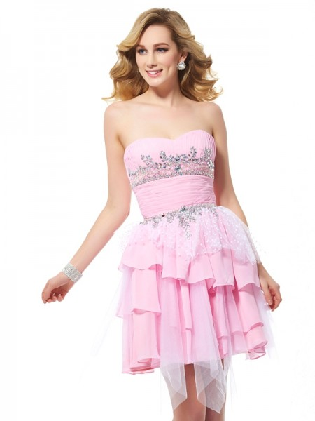 A Line Princess Chiffon Sweetheart Beading Mini Women Dresses