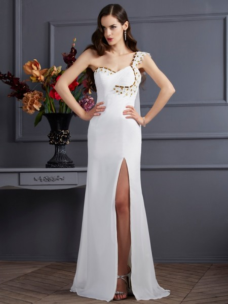 A Line Princess One Shoulder Chiffon Sweep Brush Train Beading Evening Gown