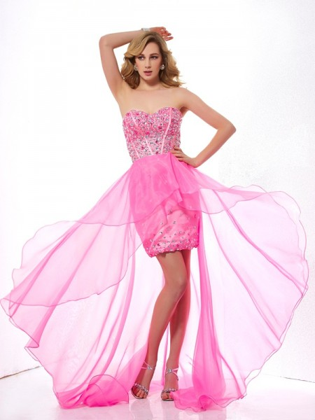 Beading A Line Sweetheart Asymmetrical Organza Evening Wear