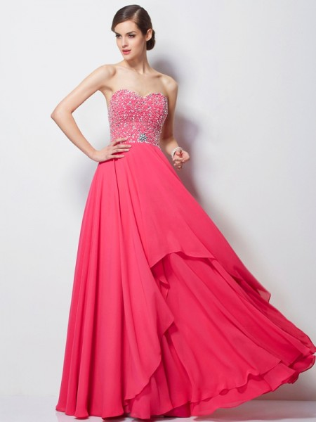 A Line Sweetheart Chiffon Beading Floor Length Evening Wear