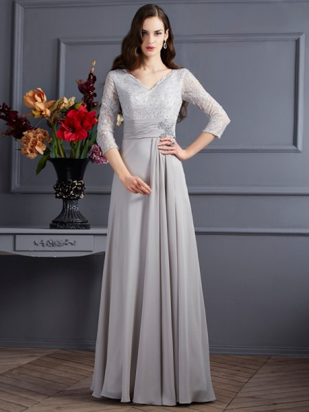 A Line Princess Chiffon V-Neck Sleeves Applique Floor Length Gown