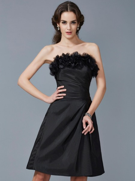 Column Strapless Hand Made Flower Taffeta Knee Length Women Dresses