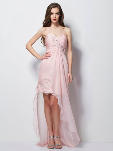 A Line Princess Sweetheart Applique Beading Chiffon Asymmetrical Gown