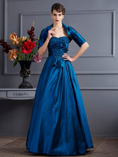 A Line Princess Sweetheart Applique Taffeta Gown