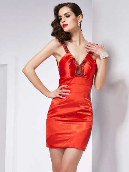 Column V-Neck Elastic Woven Satin Mini Beading Gown