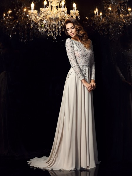 A-Line Long Sleeves Scoop Chiffon Beading Court Train Beautiful Dress