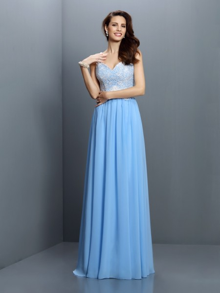A-Line V-neck Straps Lace Floor-Length Chiffon Dresses For Bridesmaid