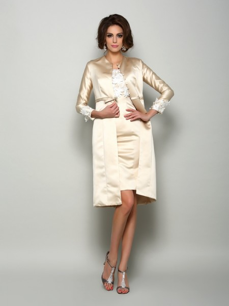 Sheath Short Sleeves Square Satin Knee-Length Applique Mother of the Bride Dress