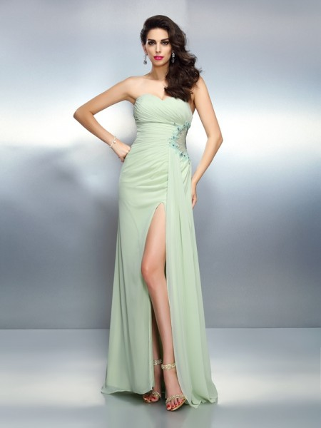 A-Line Sweetheart Pleats Floor-Length Chiffon Formal Dress