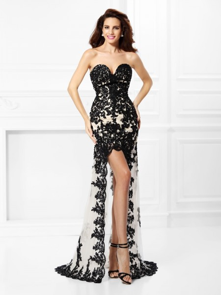 A-Line Sweetheart Lace Asymmetrical Elastic Woven Satin Evening Dresses