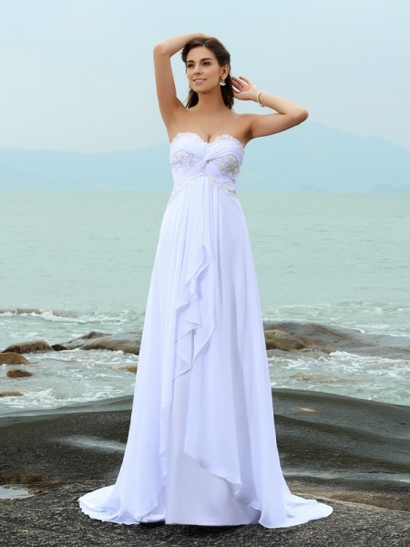 A-Line Beading Sweetheart Sweep/Brush Train Chiffon Bridal Dresses