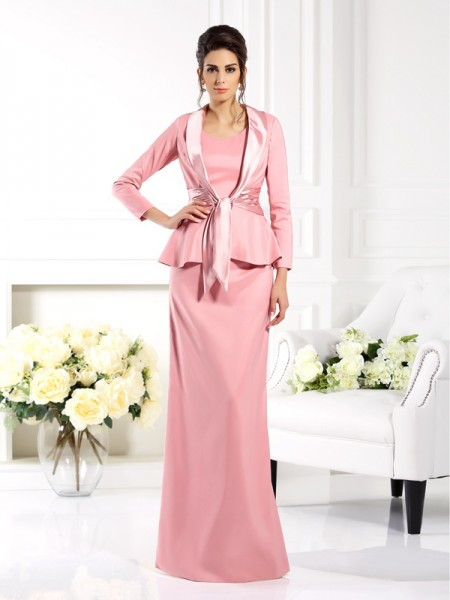 Sheath Square Floor-Length Elastic Woven Satin Mother of the Bride Dress