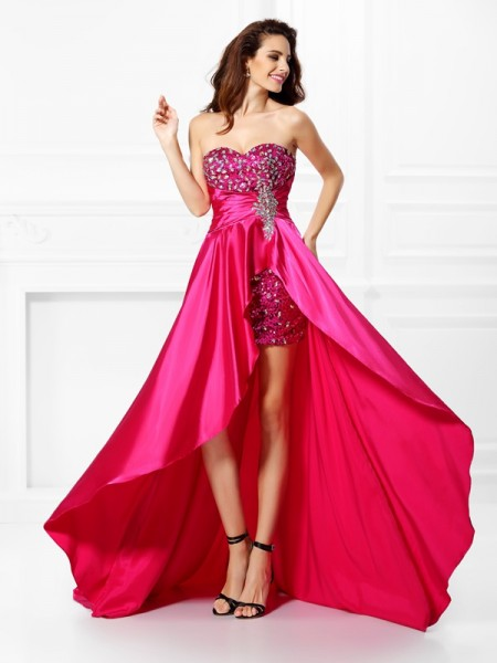 A-Line Beading Sweetheart Paillette Asymmetrical Elastic Woven Satin Evening Dresses
