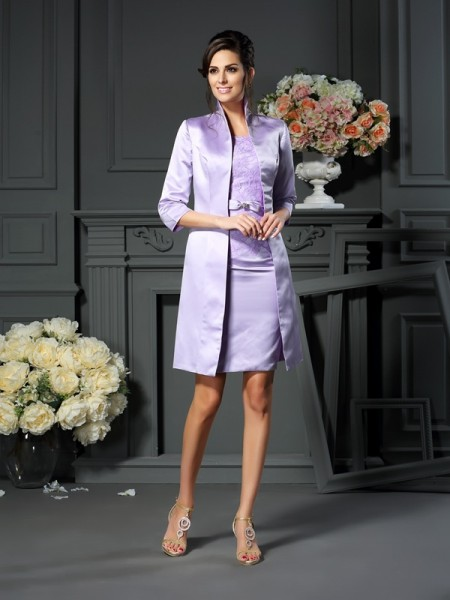 Sheath Scoop Bowknot Short Satin Mother of the Bride Dress