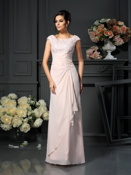 A-Line Scoop Floor-Length Lace Chiffon Mother of the Bride Dress