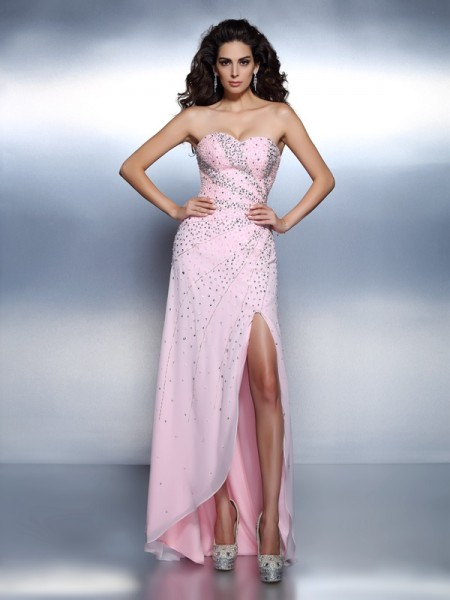A-Line Beading Sweetheart Floor-Length Chiffon Formal Dress