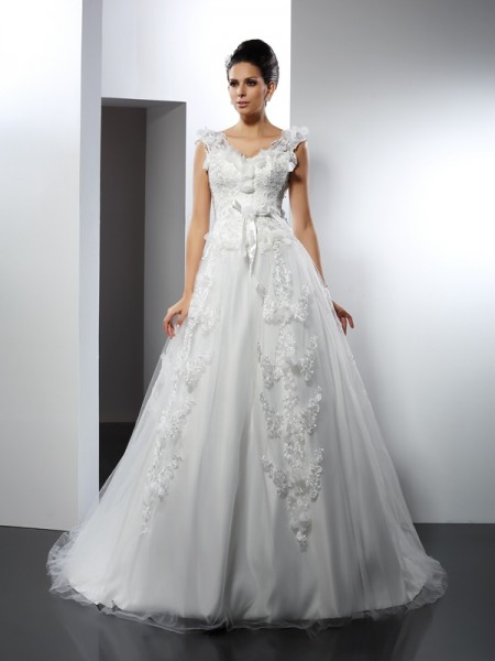 A-Line Straps Lace Cathedral Train Satin Dresses For Brides