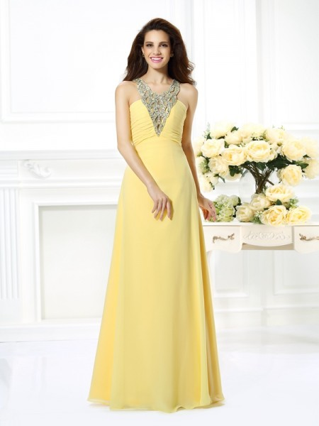 A-Line V-neck Beading Floor-Length Chiffon Formal Dress