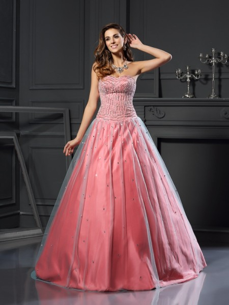 Ball Gown Satin Beading Sweetheart Floor-Length Party Dresses