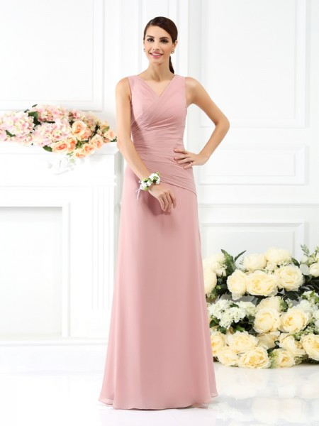 Sheath V-neck Pleats Floor-Length Chiffon Bridesmaid Gown