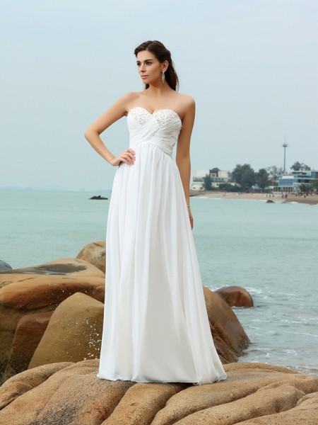 A-Line Sweetheart Sweep/Brush Train Chiffon Beading Wedding Gown