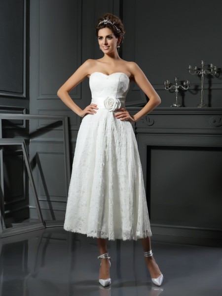 A-Line Sweetheart Lace Tea-Length Hand-Made Flower Wedding Gown