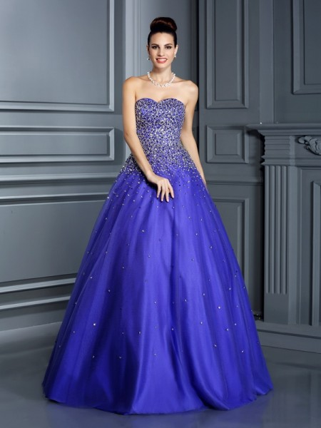 Ball Gown Beading Sweetheart Floor-Length Net Quinceanera Dresses
