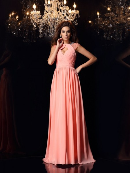A-Line Chiffon Scoop Beading Sweep/Brush Train Evening Gown