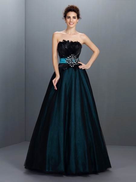 Ball Gown Strapless Feathers/Fur Floor-Length Elastic Woven Satin Evening Dresses