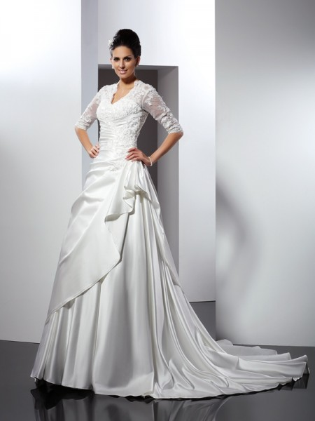 A-Line V-neck 1/2 Sleeves Applique Chapel Train Satin Wedding Gown