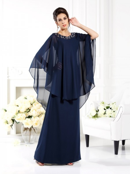 A-Line Scoop 3/4 Sleeves Floor-Length Chiffon Mother of the Bride Dress