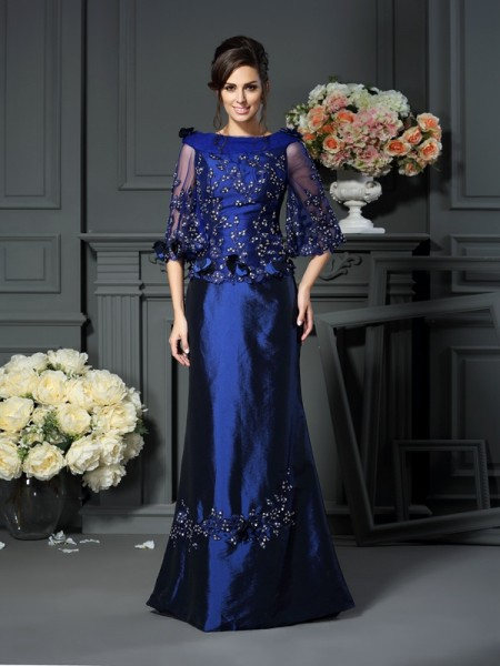 A-Line Scoop Beading 1/2 Sleeves Floor-Length Taffeta Mother of the Bride Dress