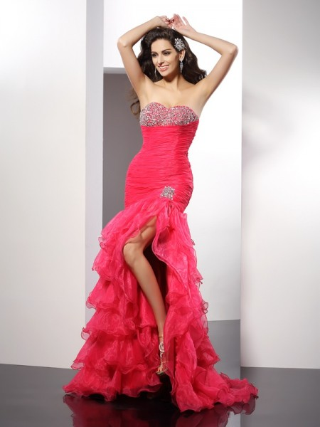Sheath Beading Sweetheart Floor-Length Organza Women Gown