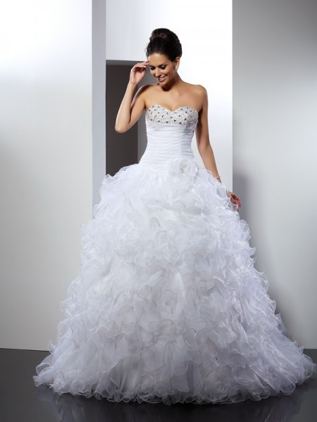 Ball Gown Beading Sweetheart Cathedral Train Organza Wedding Gown