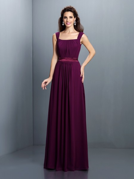 A-Line Square Pleats Floor-Length Chiffon Lady Dress