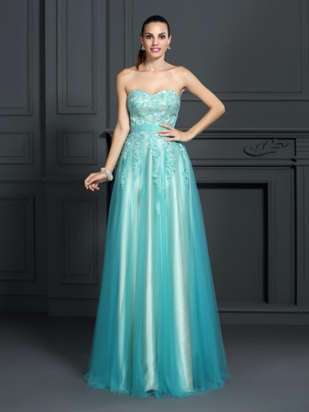 A-Line Sweetheart Applique Floor-Length Elastic Woven Satin Evening Wear
