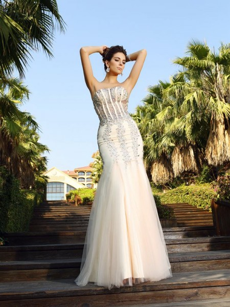 Mermaid Beading Strapless Floor-Length Satin Evening Wear